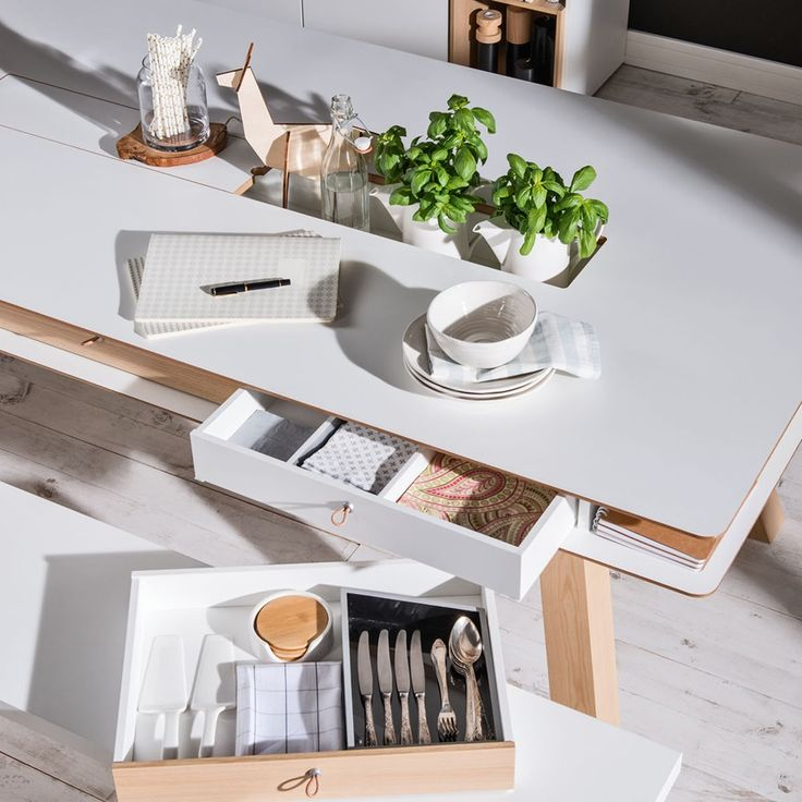 4YOU DINING TABLE WITH HIDDEN CONTAINER in White