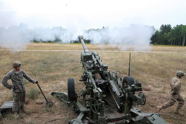 """As part of Exercise Northern Strike, soldiers respond to a call for fire by firing the M 777 """"Howitzer"""" 155 mm. This equipment can become a part of your training as a Guard soldier."""