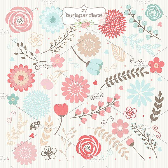 Vector Flowers clipart by burlapandlace on @creativemarket
