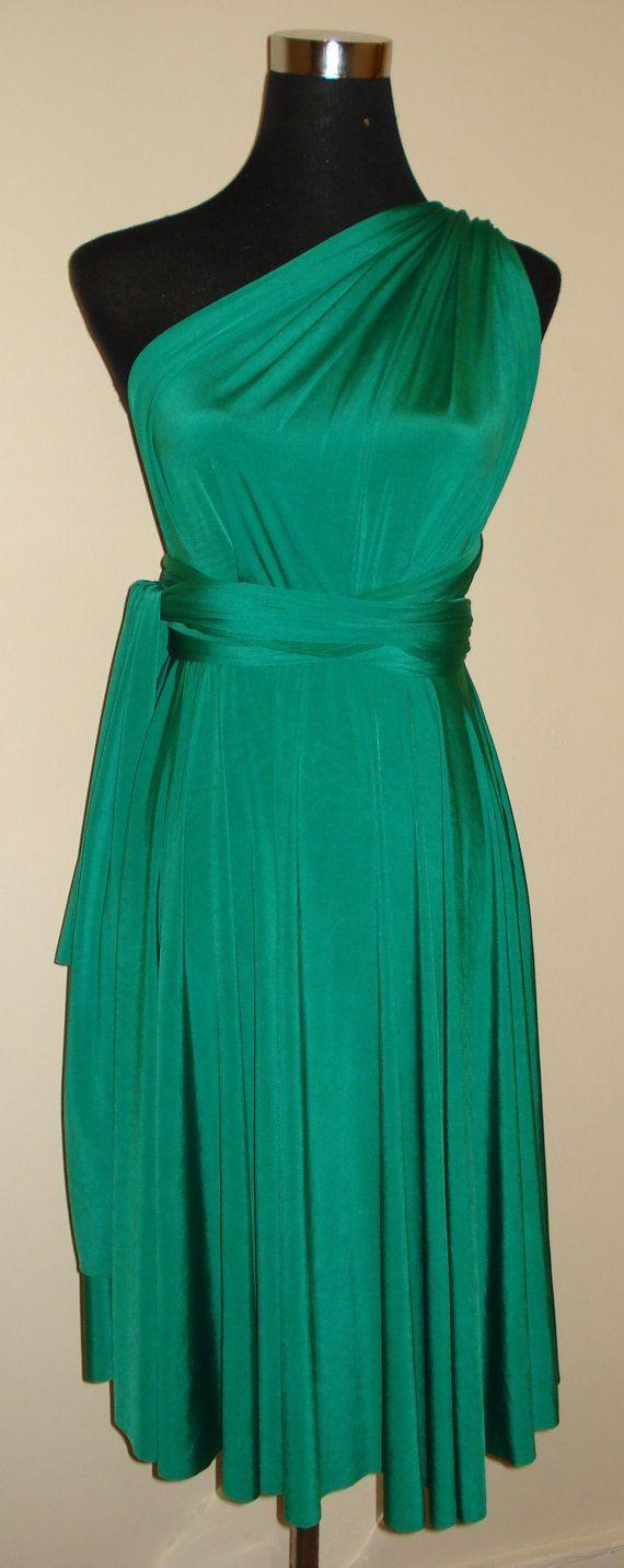 Emerald groen knie lengte oneindigheid jurk bruidsmeisje bruiloft jurk converteerbare jurk twist wrap jurk Meerwegafsluiter jurk partij formele bruiloften