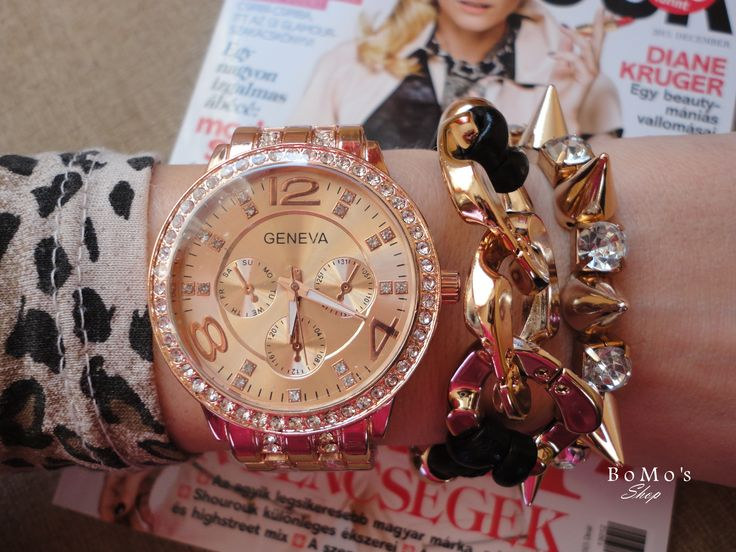 Geneva rose gold watch outfit