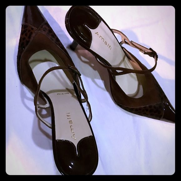 Brown patent and suede kitten heel shoes. Brown patent and suede kitten heel shoes by designer Alfani.  New with tags.  Size 7 retail value $159 Alfani Shoes Heels