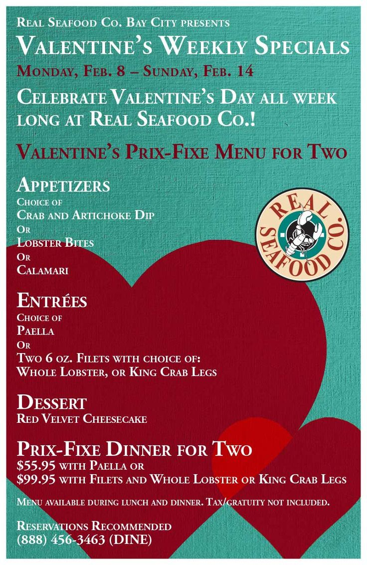 Valentine's Weekly Specials | Real Seafood Company Bay City