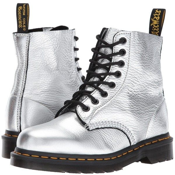 Dr. Martens Pascal Metallic 8-Eye Boot (Silver Santos) Women's Boots (3.069.765 VND) ❤ liked on Polyvore featuring shoes, boots, laced up boots, slip resistant boots, silver platform boots, laced boots and lace up platform boots