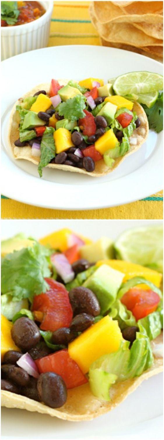 Black Bean and Mango Tostadas Recipe on twopeasandtheirpod.com One of ...