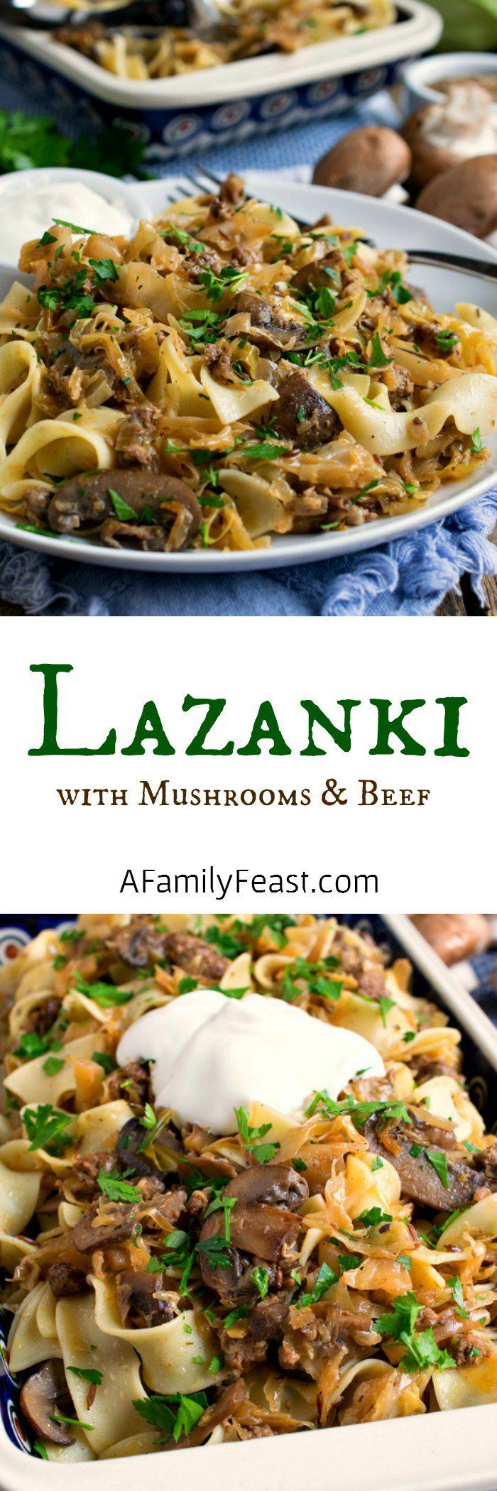 Lazanki with Mushrooms and Beef – Noodles tossed with sauteed ground beef, mushr…