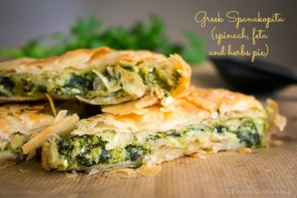 Greeks love their pies. The two most favourite ones are plain cheese (either feta or cheddar) and spinach with feta. The latter often gets enriched with various other wild-growning greens. The recipe that follows is the classic spinach and feta version. It's so tasty that even people who don't like spanakopita (they do exist, allbeit rare – my father being one of them) love it! One of my Greek...