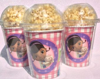 Set of 8 - Doc McStuffins Party Cups, PopCorn Box, Doc McStuffins Birthday Party, Favor Bag