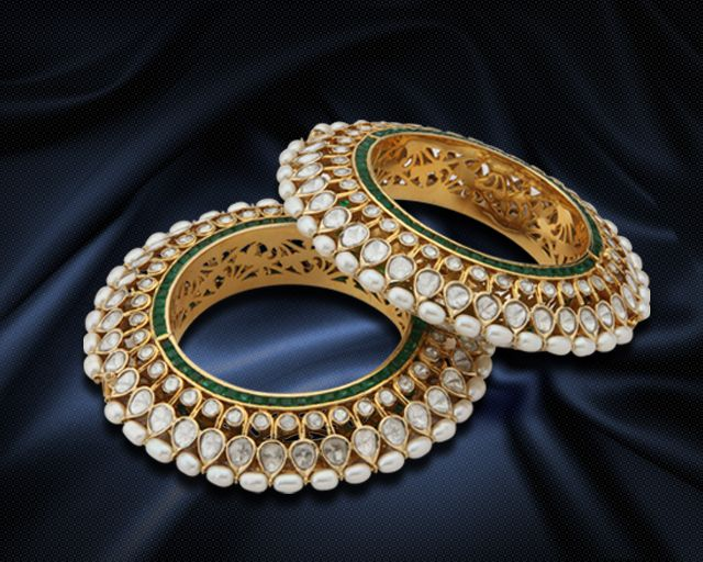 One of the Top 10 Jewelers in India Hazoorilal ~ Polki and Kudan bracelets