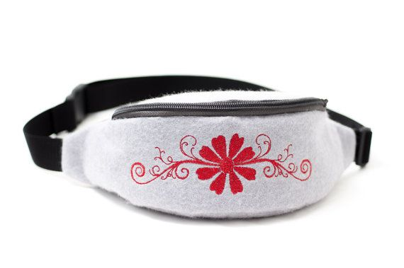 Gray waist bag / hip bag made from soft felt with red embroidery by Anardeko
