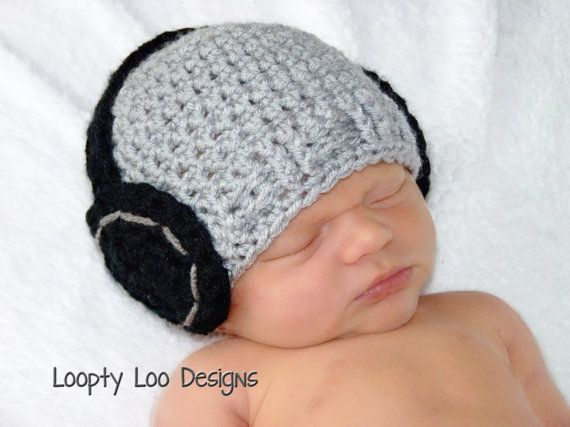 Baby Boy Hat, Headphone Beanie, Crochet Hat, Photo Prop, Boy, Girl, Headphone Hat, grey, black -Sizes NEWBORN TO 12 MONTHS -more colors