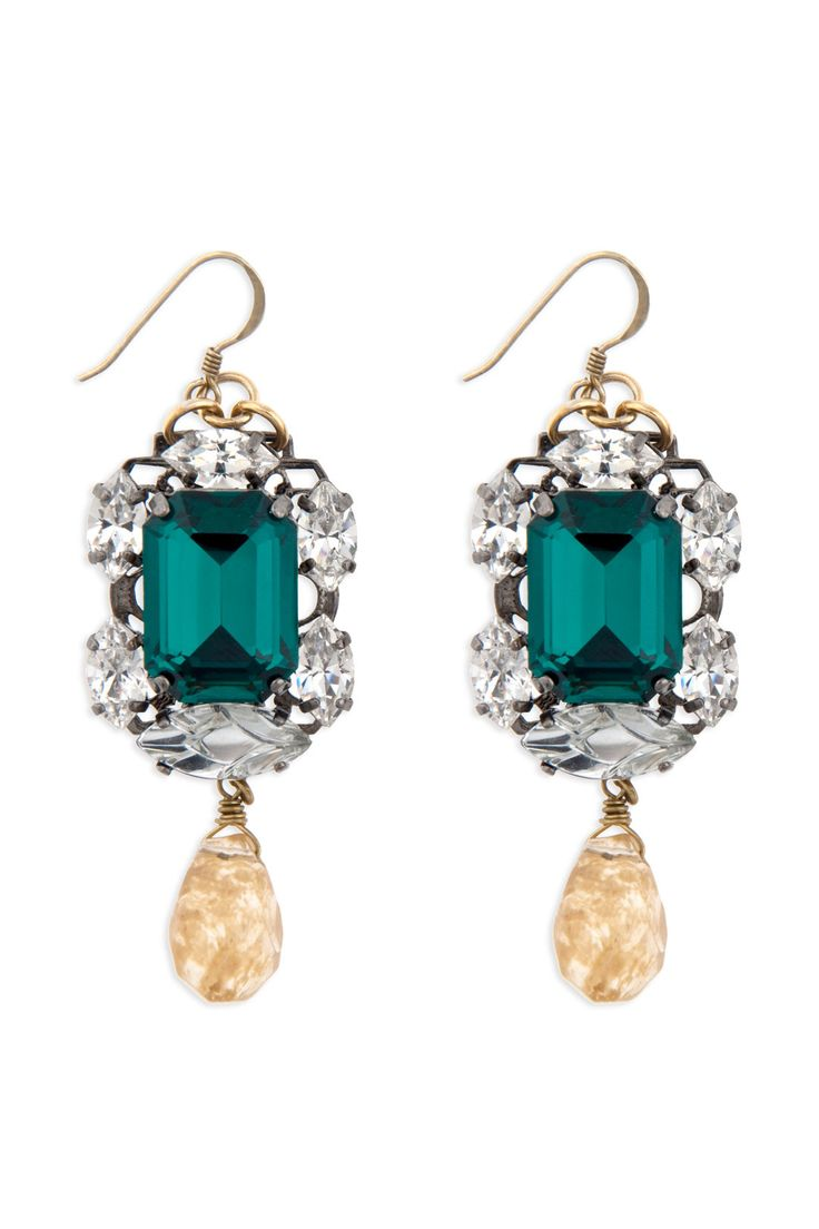 Emerald Stone Drop Earrings by Anton Heunis