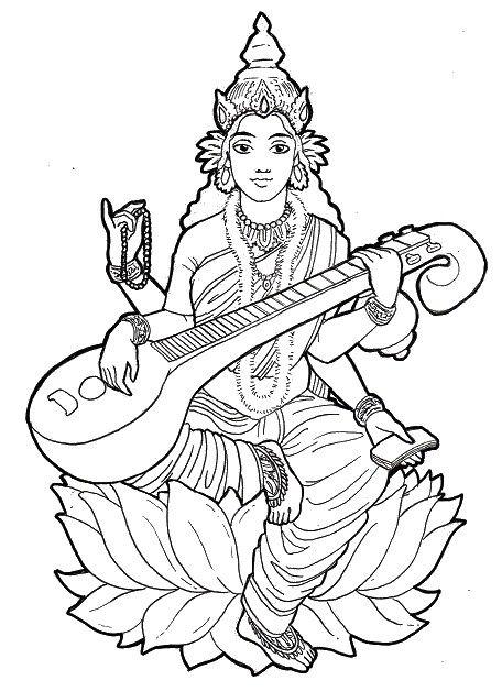 Coloriage adulte Inde : Saraswati jouant de la musique 11