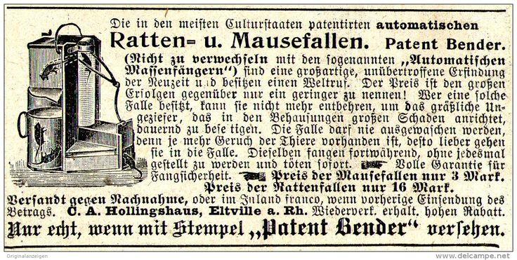 Original-Werbung/ Anzeige 1897 - RATTEN - UND MAUSEFALLEN / PATENT BENDER/ HOLLINGSHAUS - ELTVILLE - ca. 90 x 45 mm