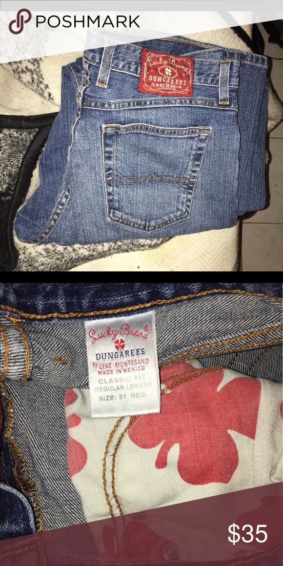 LN.  Lucky Brand Dungarees jeans. Lucky Brand Dungarees blue jeans. In excellent condition! Classic fit; Regular Length; Size 31.   Bundle and save Poshers! lucky brand dungarees Jeans Straight Leg