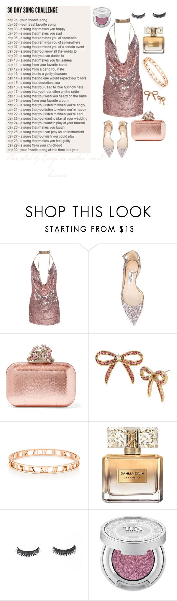 """""""Day 9 This Girl by Kungs vs. Cookin' on 3 Burners"""" by grace-buerklin ❤ liked on Polyvore featuring Jimmy Choo, Betsey Johnson, Givenchy, Luxie, Urban Decay and 30daysongchallenge"""