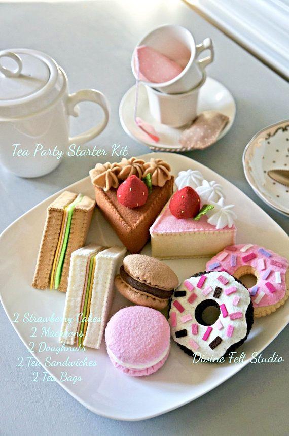 NEW 10 pc Felt Tea Party Starter Kit Felt Cake-Felt Food
