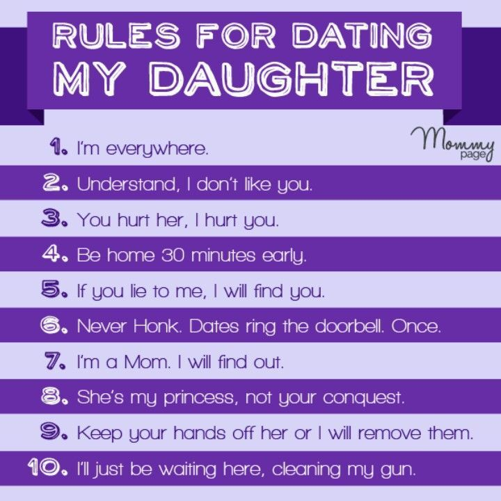 10 rules for dating my daughter joke 10 simple rules for dating my daughter rule one: if you pull into my driveway and honk you'd better be delivering a package, because you're sure not picking anything up.