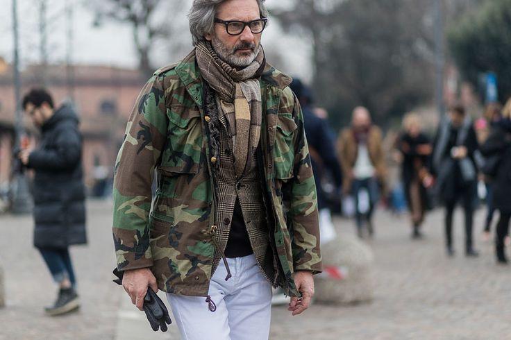 Pitti Uomo 91 best street style - camoflauge M65 jacket with sport coat and white cotton slacks