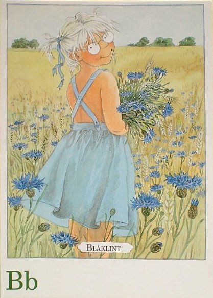 B for blåklint - Cornflower | Illustrations by Lena Anderson  from 'Majas alfabet'