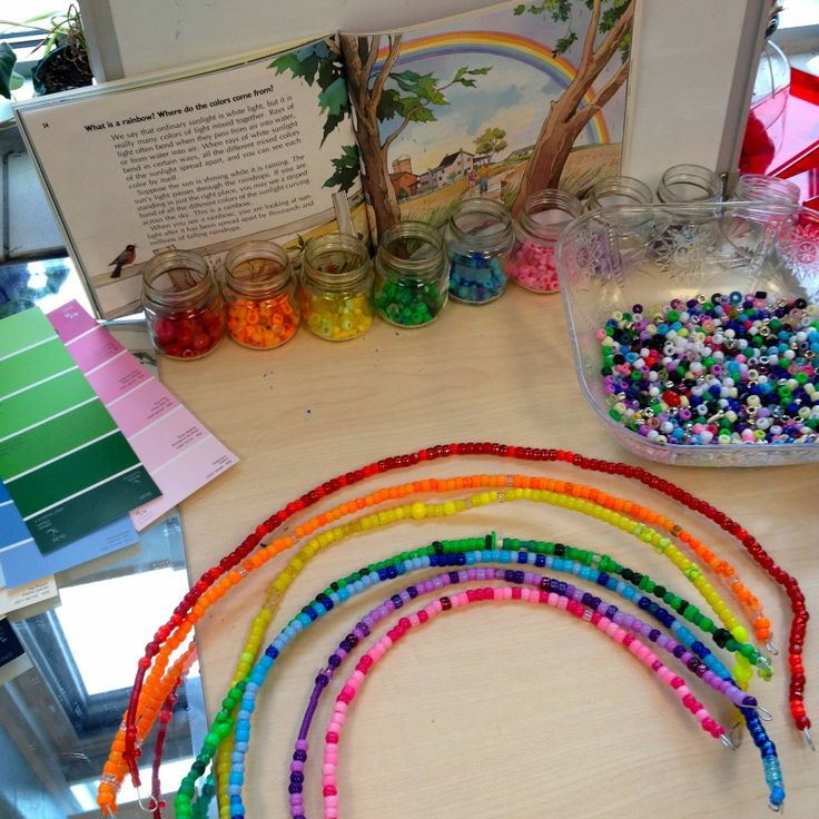Rainbow Inquiry-- sorting using beads. Then creating a rainbow using wire