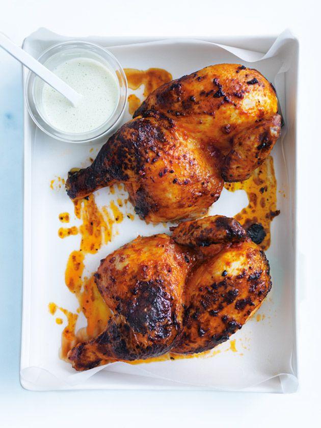harissa roast chicken with minted yoghurt