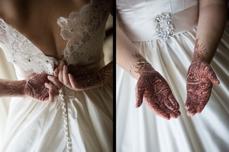 East meets west - I love the contrast between Aimee's white wedding gown and her dark henna.  #indianwedding #wedding #sydney #weddingphotography