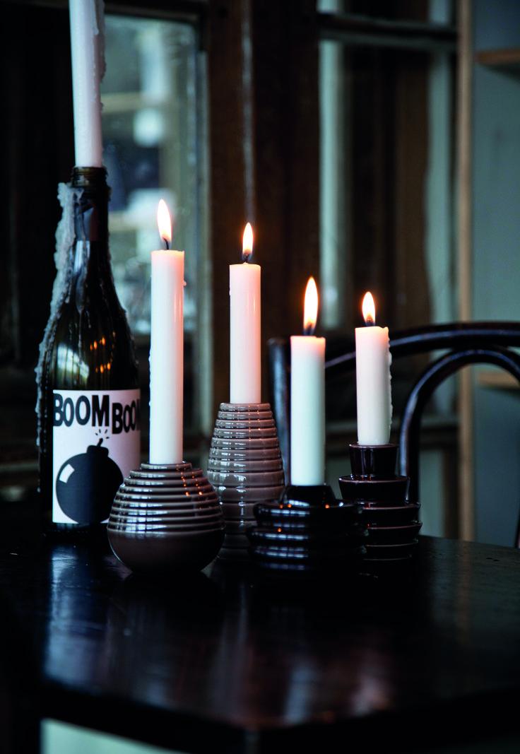 Cono candlesticks in brown autumn shades.
