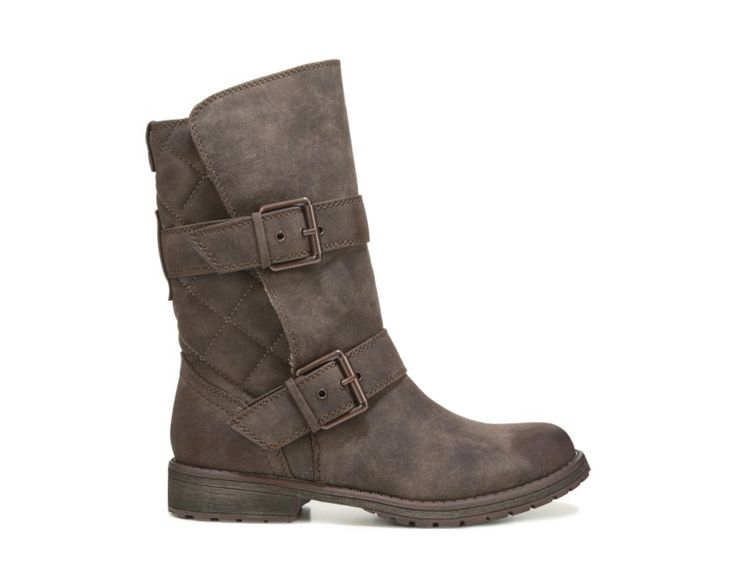 Update your moto-chic look with the Harding II Boot from Roxy.Faux leather upper in a mid-calf boot style with a round toeStitching accentsDual straps with adjustable buckles8 inch shaft height12 inch shaft circumferenceSmooth lining, cushioning insoleTPR traction outsole, 1 and 1/4 inch heel