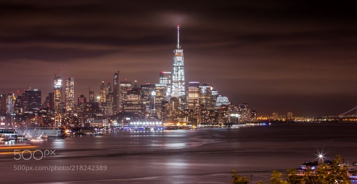 The New World Trade Center under A Cloudy Night by sunj99