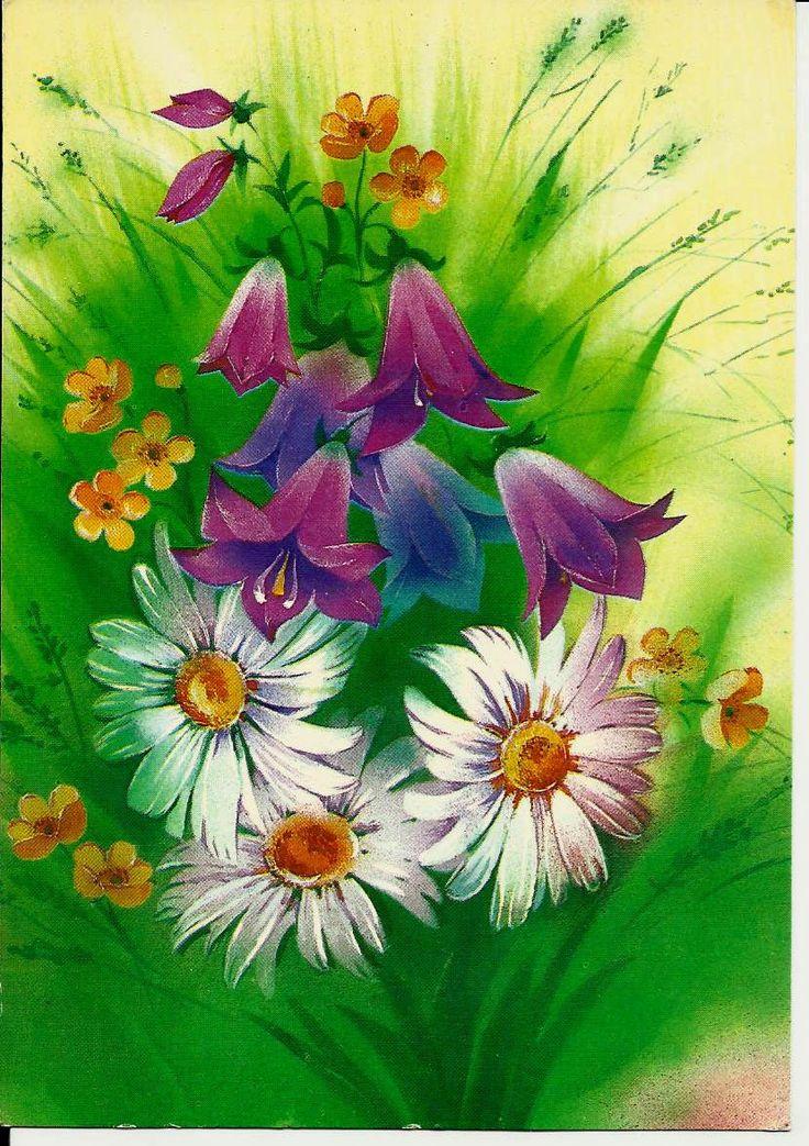 Vintage Greeting Postcard Flowers  - Russian Vintage Postcard USSR Unused by LucyMarket on Etsy