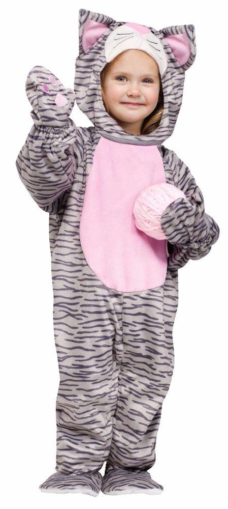 toddler cat costume grey tabby kitten kitty suit boys girls child 3t 4t kids new - 4t Halloween Costumes Girls