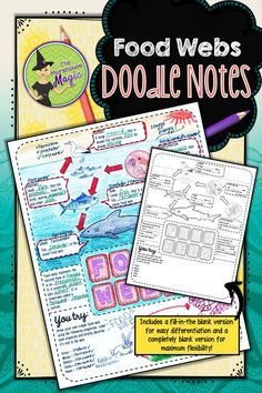 Looking for a fun, engaging instructional resource for food webs? Why not give doodle notes a try? Food Webs Doodle Notes will aid in student concept retention, focus, creativity, and engagement. Students will use this graphic organizer to identify and define the parts of an ocean food web and illustrate their own food web. Students will gain experience in synthesizing information and creating their own tangible connections in their notes.