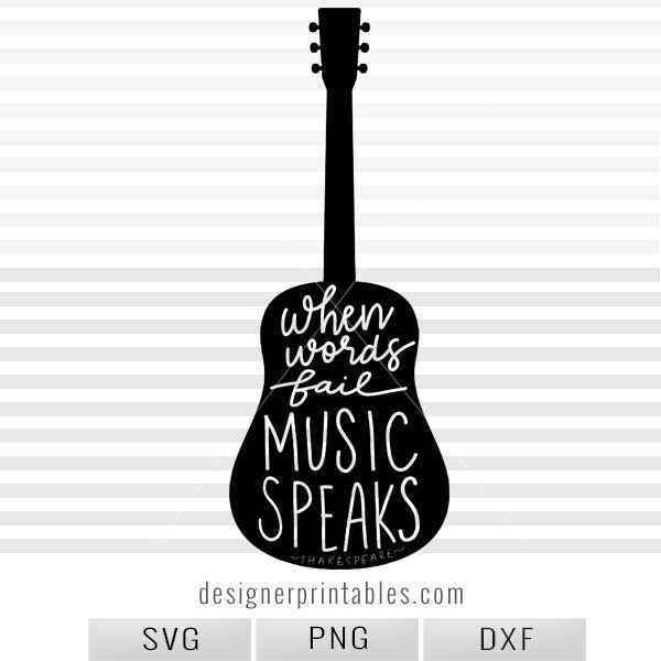 SVG, PNG: Guitar Silhouette Music Quote