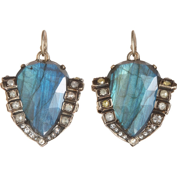 Damn you Nak. You keep killin' me with these gorgeous pieces.  NAK ARMSTRONG  Double-Sided Labradorite & Tourmalated Quartz Earrings