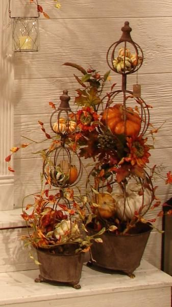 autumn topiaries www.tablescapesbydesign.com https://www.facebook.com/pages/Tablescapes-By-Design/129811416695