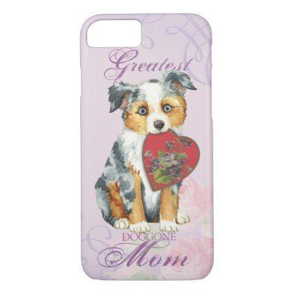 #Mini American Shepherd Heart Mom iPhone 7 Case - #australian #shepherd #puppy #shepherds #dog #dogs #pet #pets #cute #australianshepherd
