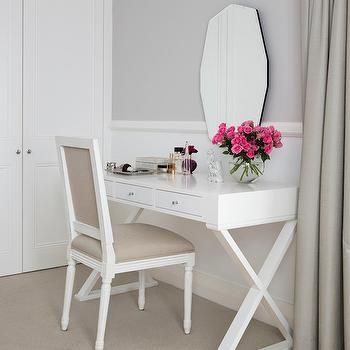 White Lacquer Vanity, Transitional, bedroom, ICI Dulux Milton Moon, Horton and Company