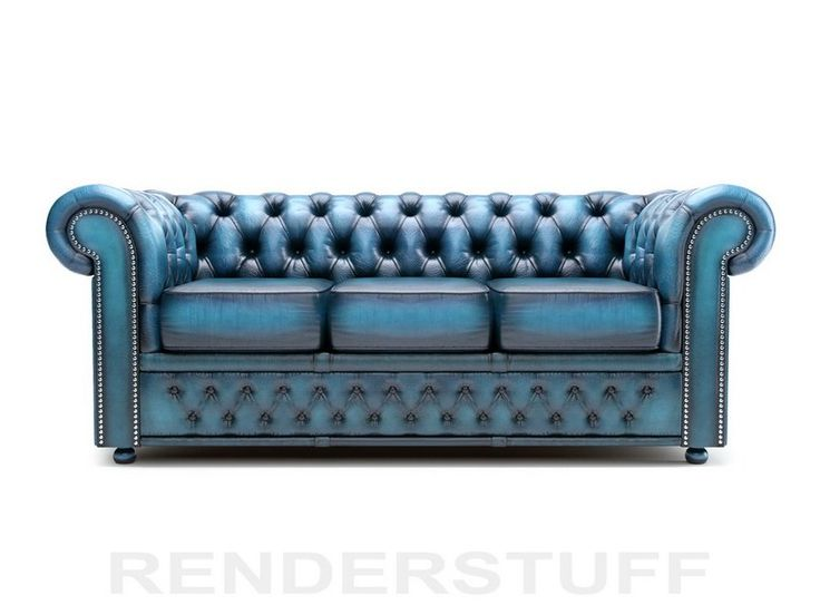 Chesterfield Sofa 3d Model Low Poly 3 Seater Rendering Image