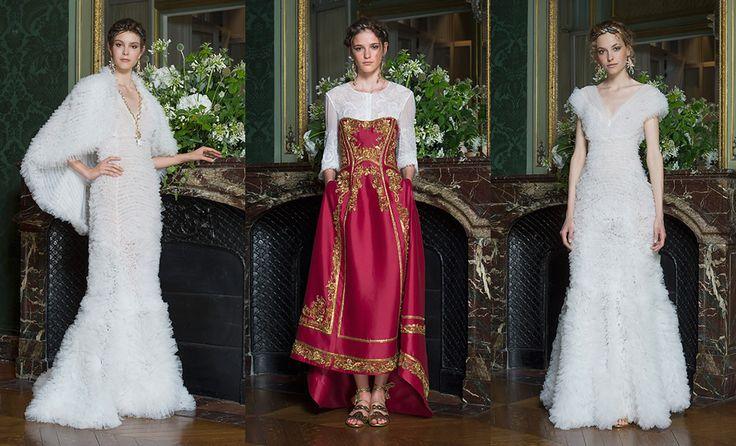 Декор дворцов девятнадцатого века и — внезапно! — элементы русского сарафана с ощутимым византийским влиянием выразились в платьях итальянской марки для самых особенных случаев