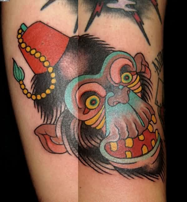 20 best new school tattoos gorilla face images on for Monkey face tattoo