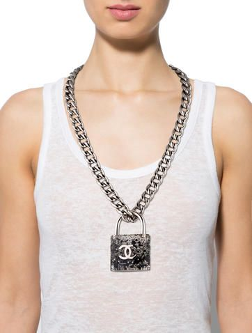 Chanel Curb Chain Padlock Necklace