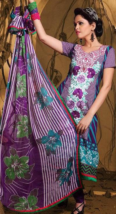 Purple Cotton Thread Work Churidar Salwar Kameez