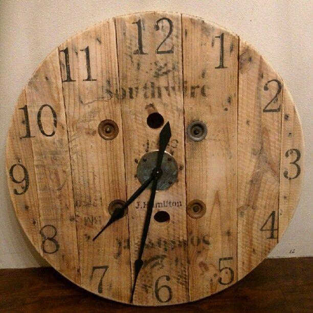 wooden spool wall clock