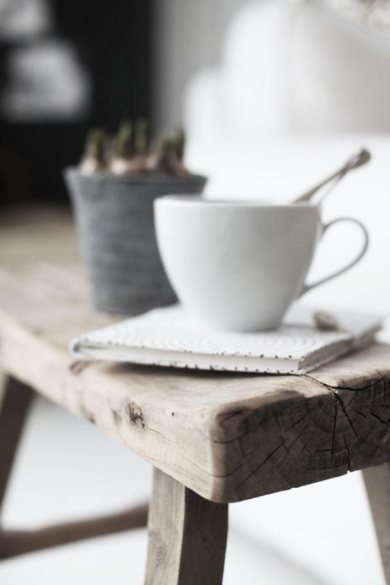 old wood bench as side-table. from Kjerstis Lykke blog
