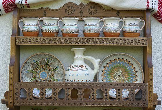 Blidar mare din lemn de tei, cuier, raft traditional romanesc