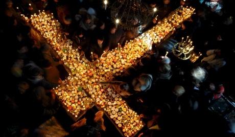TIHE HOLY FIRE ON HOLY SATURDAY IN JERUSALEM