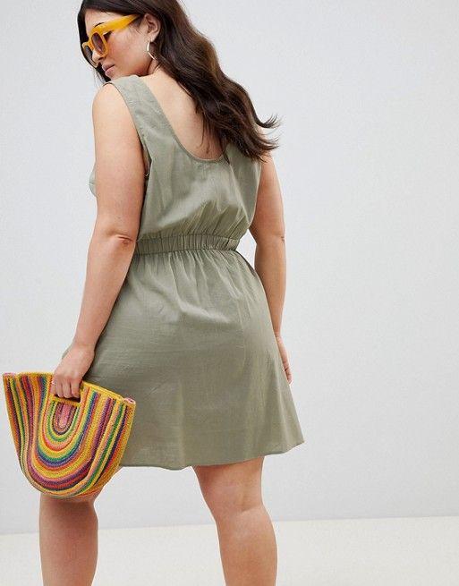 6befdeb4077 ASOS DESIGN Curve casual popper mini dress