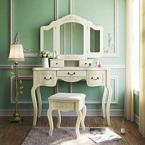 Shabby chic home decorating consists of slightly distressed  decorations that are stillpleasing to the eye. For  instance, you have heard ofreclaimed wood decoror distressed  home decor these are perfect examples of shabby chic home decorations      Tribesigns French Vintage Ivory White Vanity Dressing Table Set Makeup Desk with Stool & Mirror Bedroom