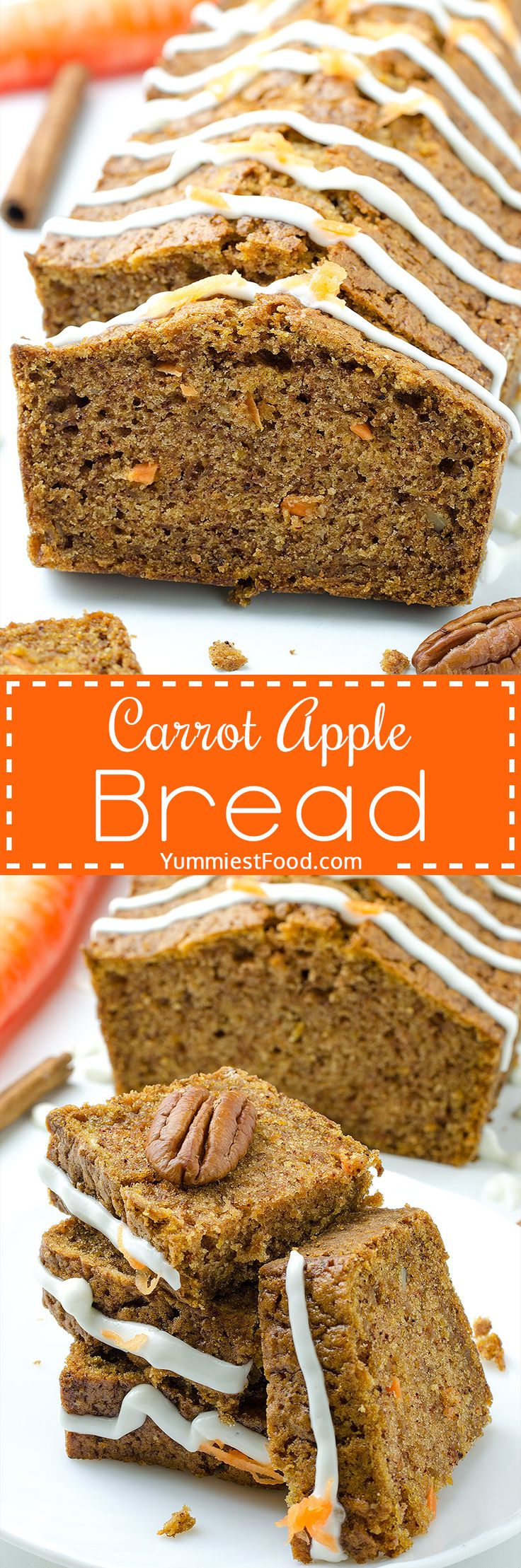 Carrot Apple Bread - yummy and very quick bread! Perfect way to start your day! Carrot Apple Bread is ideal choice for healthy breakfast! Super Carrot and Apple combination!